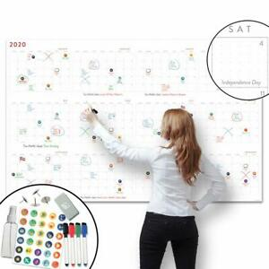 Large Dry Erase Wall Calendar 38 X 60 2020 Dated Giant Yearly Whiteboard
