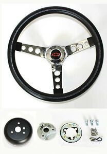 1970 1988 Monte Carlo Chevelle Black Steering Wheel 13 1 2 Red Black Bowtie