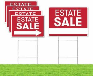 Estate Sale Sign Bundle Kit upgraded 5 Double Sided Red Pro Real Estate