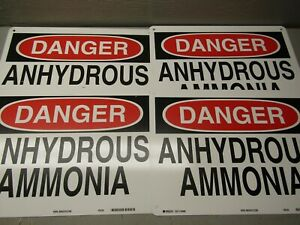 Brady 40866 Danger Anhydrous Ammonia Sign 14 X 10 Lot Of 4