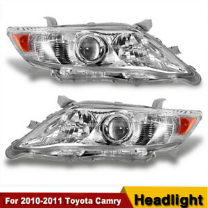 For 2010 2011 Toyota Camry Chrome Housing Amber Corner Projector Headlight New