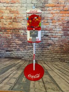Coke Coca cola gumball machine glass Acorn penny machine with  metal stand