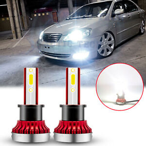 H3 Led Bulbs 6000k White For Toyota Corolla 2001 2002 2003 2004 Fog Light 60w 2x