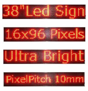 Wifi Programmable Led Sign 38 x6 5 Red Scrolling Message Board