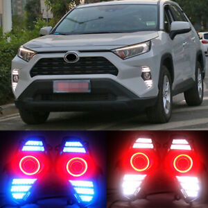 2pcs Led Drl Daytime Fog Lights Lens angel Eye Kits For Toyota Rav4 2019 2020