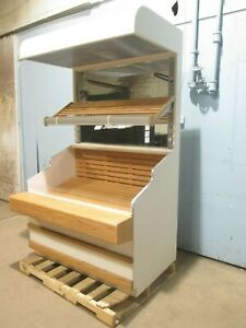 Heavy Duty Commercial Wooden Lighted Open Vertical Bakery produce Display Case