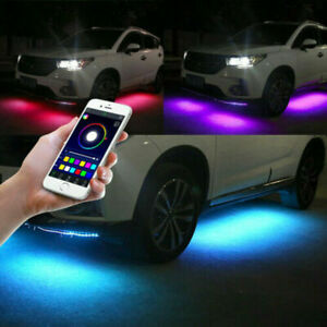 4x Colorful Led Strip Under Car Tube Underglow Underbody System Neon Lights Kit
