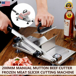 Adjustable Manual Frozen Food Meat Slicer Beef Mutton Sheet Stainless Steel Bbq