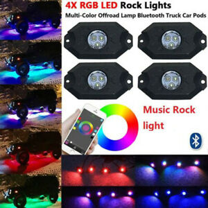 4 Pod Neon Led Rock Light Kit Control Rgb Underglow For Offroad Car Truck Boat