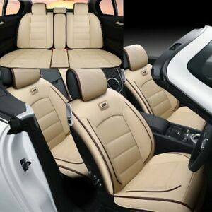 Universal 5 seats Car Seat Covers Luxury Pu Leather Suv Interior Cushions Beige