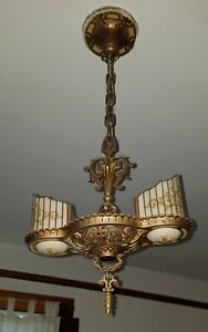 Art Deco Williamson Beardslee 2 Slip Shade Pendant Light Chicago Bungalow Lot A