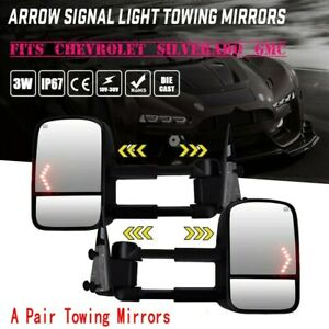 For 2003 2006 Chevy Silverado 1500 2500 Hd Power Heated Led Signals Tow Mirrors
