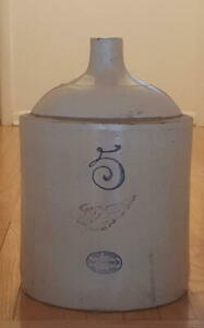 Antique 5 Gallon Red Wing Union Stoneware Crock 17 Tall