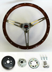 67 68 Chevelle El Camino Wood Steering Wheel High Gloss 15 Red black W Rivets