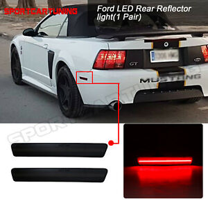 For Ford Mustang 1999 2004 Smoked Red Led Rear Bumper Reflector Light Red 2pcs