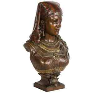 An Exquisite French Multi Patinated Orientalist Bronze Bust Of Saida By Rimbez