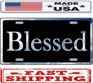 Religious Christian Blessed Blue Sky Metal Tin License Plate Frame Tag Sign Car