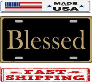 Religious Christian Blessed Gold Metal Tin License Plate Frame Tag Sign For Car