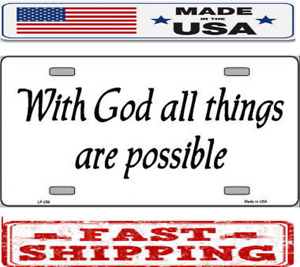 Religious Christian God Is Possible Metal Tin License Plate Frame Tag Sign Car