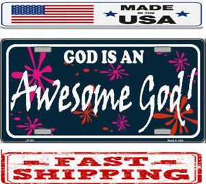 Religious Christian Awesome God Metal Tin License Plate Frame Tag Sign For Car