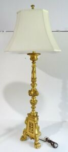 Rare Metal Mid Century Hollywood Regency Candlestick Lamp With Shade 54 Tall