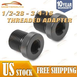 2 Pack Steel Black Knurled 1 2 28 To 3 4 16 Threaded Screw Adapter Oil Filter