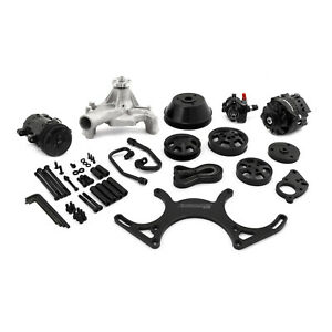 Black Anodized Sbc Serpentine Pulley Kit With Blk A C Alternator P S
