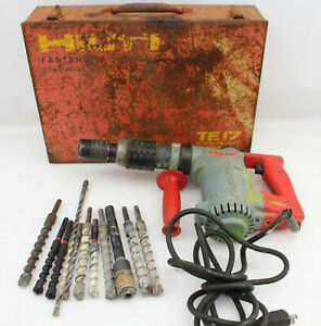 Hilti Te17 Corded Rotary Hammer Drill With Case Bits Lag Adapters And Handl