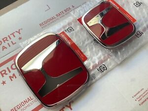 2pcs Set Honda Accord Coupe 2dr 03 07 Jdm Red H Front Rear Type R Grille Emblem