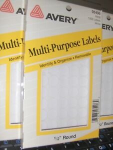 New 1 2 Inch Avery Round White 6 000 Labels Self Adhesive Color Coding Labels