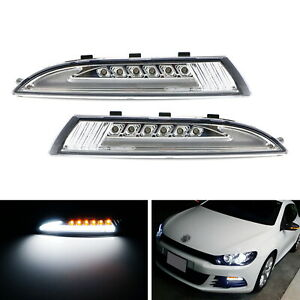 Clear Lens Led Daytime Light W sequential Turn Signals For 08 13 Mkiii Scirocco