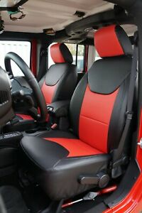 Jeep Wrangler Jk 2013 2017 4doors Black red S leather Front rear Seat Covers