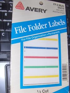 New 248 Avery File Folder Labels 1 3 Cut Self Adhesive 05215 Assorted Color
