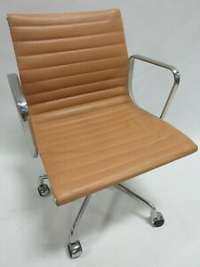 Genuine Herman Miller Eames Aluminum Group Management Chair In Cognac Leather