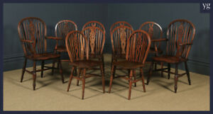 Antique English Set Of 10 Ash Elm Windsor Wheel Back Kitchen Dining Chairs