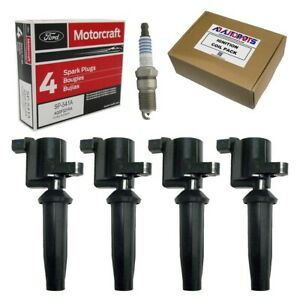 Set Of 4 Ignition Coils 4 Motorcraft Spark Plugs For Ford Escape Focus