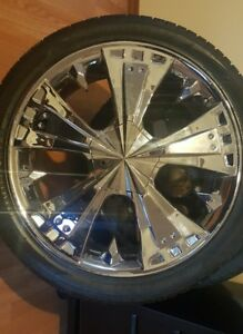 4 Used Universal 5 Lug 24 Inch Chrome Rims And Tires