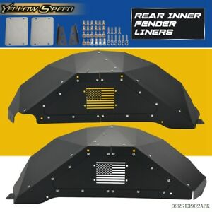 Black For Jeep Wrangler Jk 4wd 07 18 Solid Aluminum Rear Inner Fender Liners