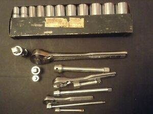 Craftsman Vintage Tools 22 Pieces Sockets Ratchets Extensions