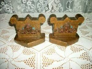 Antique Polychrome Bookends Crown Sacred Heart Flaming Gesso 1920 S Rare