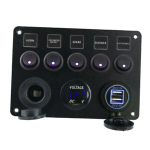 Car Boat Marine Rv 5 Gang On off Toggle Switch Panel Green Voltmeter 2 Usb Blue