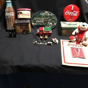 Coca Cola Collectibles Train Tins Bears Bottles Book Drink Bucket Lot of 15