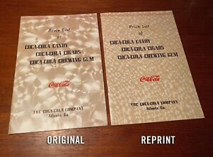 Coca Cola 1940 Price List Candy Cigars Chewing Gum Booklet ORIGINAL VERSION Rare