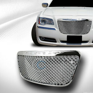 Fit 11 14 Chrysler 300 300c Chrome Mesh Front Hood Bumper Grill Grille Guard Abs