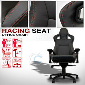 Universal Blk W red Stitches Pvc Leather Mu Racing Bucket Seat Office Chair Cl01
