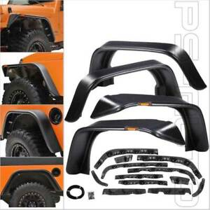 Fit 07 17 Jeep Wrangler Flat Style Protector 18 Pc Kit W Marker Fender Flares