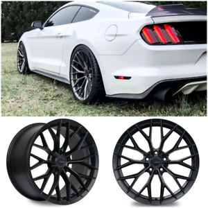 Ambit Fc20 Flow Formed Black Staggered Wheels 19x9 19x10 5x114 3 Mustang Q50 Q60