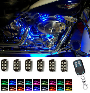 Wireless Motorcycle Rgb Led Under Glow Neon Strip Light Kit With Remote Control