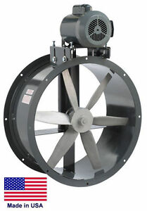 Tube Axial Duct Fan Belt Drive 30 1 5 Hp 115 230v 1 Phase 11 100