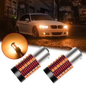2x 1156 7506 Ba15s No Hyper Flash Canbus Amber Led Turn Signal Lights Error Free